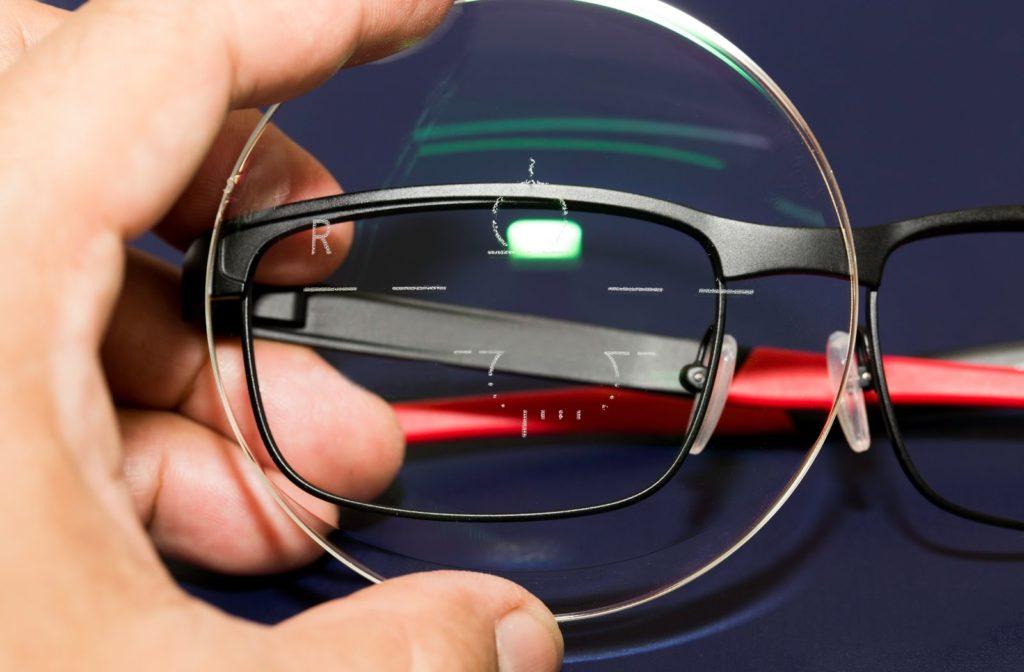 Progressive lens resting against frame